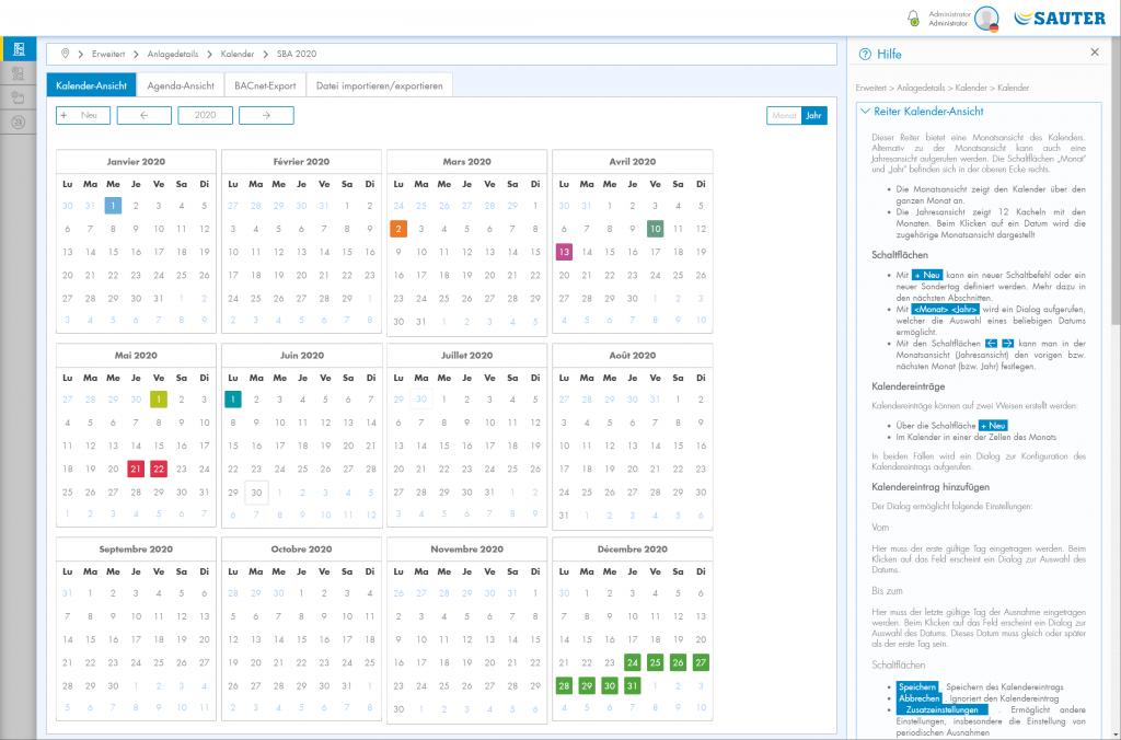 Screen shot Kalenderansicht mit Hilfe
