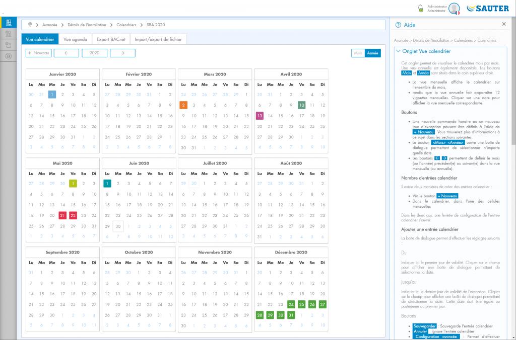Capture d'écran Vue calendrier avec aide
