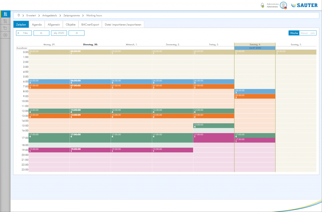 Screen shot Zeitplan Woche