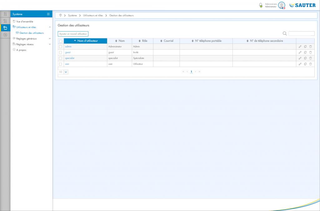 Capture d'écran Gestion des utilisateurs