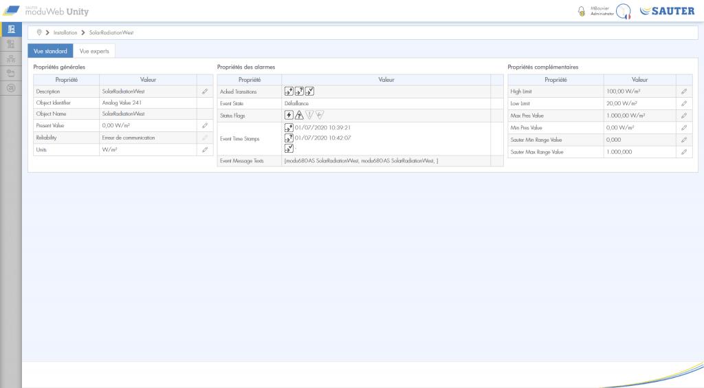Capture d'écran Vue standard de l'installation